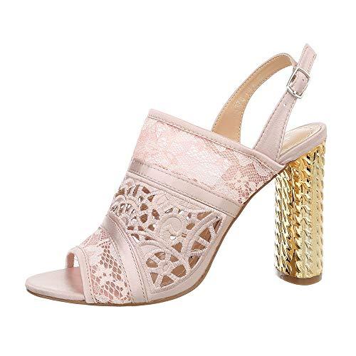 Ital-Design Damenschuhe Sandalen & Sandaletten High Heel Sandaletten Canvas Hellrosa Gr. 37