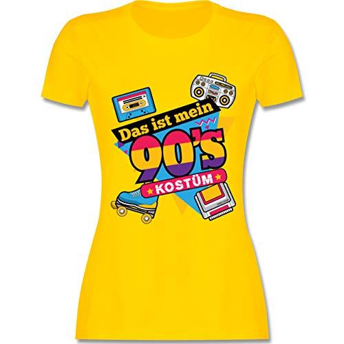 Karneval & Fasching - Das ist Mein 90er Jahre Kostüm - M - Gelb - L191 - Damen Tshirt und Frauen T-Shirt