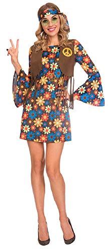 Fancy Me Damen Hippie-Kostüm, Vintage-Stil, Blumenmuster, Hippie, 60er / 70er Jahre, für Junggesellinnenabschied, Kostüm, Outfit, UK 8-18