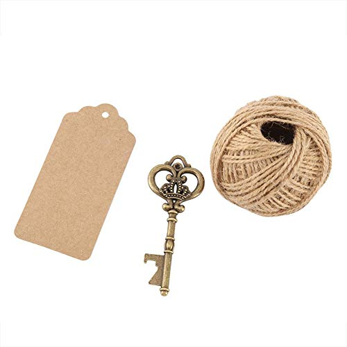 Antike Bronze Vintage Style Schlüssel Flaschenöffner Escort Tags Karte Schnur Hochzeit Party Decor Schlüssel Flasche(50Pcs+吊牌+麻绳)