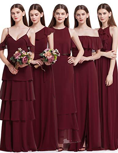 Ever Pretty Elegantes Neckholder Rüschen justierbares mit Knoten-Detail Brautjungfern Kleid 42 Größe Burgundy
