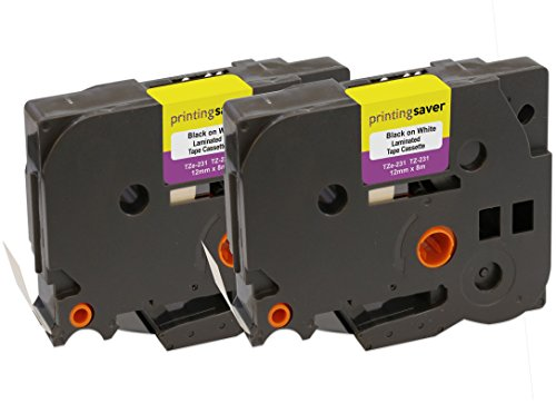 2 Compatibili TZe-231 TZ-231 12 mm x 8 m Nero su Bianco Nastri laminati per Stampanti per Etichette Brother P-Touch