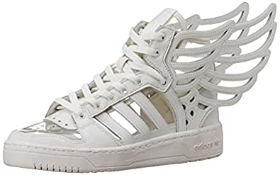 adidas Originals Unisex Js Wings 20 Cutout White, White and White Leather Sneakers - 8 UK