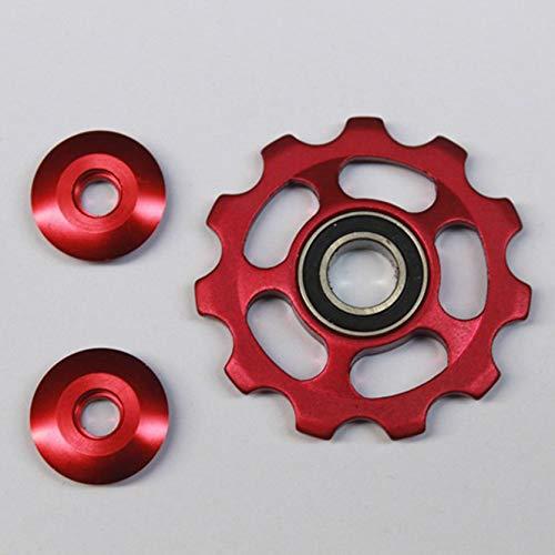Sylvialuca Aluminiumlegierungs-Stützrad 11T Fahrrad-Spannrad-Umwerfer-Riemenscheiben-Führungsrolle Radfahren Fahrrad-Zubehör - Rot
