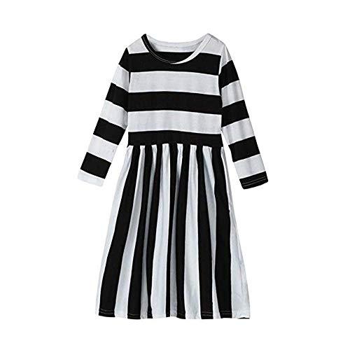 Famesale Baby Mädchen Kleid Striped Kleid Lady Mini Kleid Gestreiftes Kleid Mama Baby Kleid Erwachsener2XL