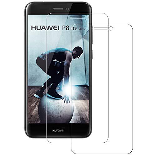 POOPHUNS 2 Stück Panzerglas Schutzfolie kompatibel mit Huawei P8 Lite 2017, Gehärtetes Glas Bildschirmschutzfolie mit 9H Härte, HD Ultra Klar, Anti-Kratzen, Anti-Öl, Bildschirmschutz Folie für P8 Lite 2017