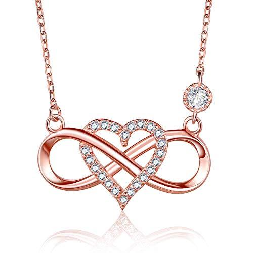 Unendlich U Fashion Unendlichkeit Zeichen Damen Halskette 925 Sterling Silber Zirkonia Herz Anhänger Kette mit Anhänger für Frau/Freundin/Mutter