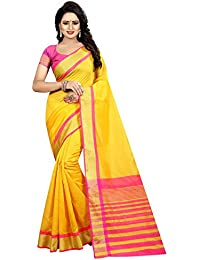 Yellow Cotton Silk Woven Saree With Blouse