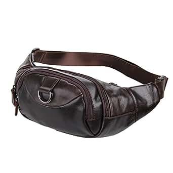 Everdoss High Quality Handmade Unisex Genuine Cowhide Leather Travel Hiking Fanny Waist Pack Bum Pouch Hip Bag Money Belts Purse 7211 (Default, Brown)