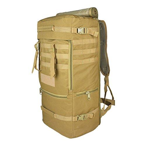LQABW Multi-funzionale Spalla Camouflage All'aperto Viaggio Tattica Dello Zaino Di Alpinismo I Fan Militari Borsa A Tracolla 75L,Brown Brown