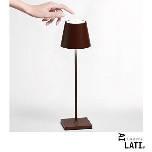 Ai Lati POLDINA Lampada da Tavolo LED 2W 3000K Ricaricabile IP54 Esterno Corten