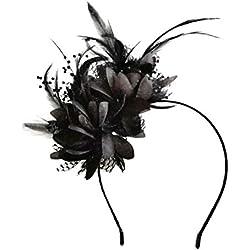 Frcolor Fascinator Diadema Negro Plumas de plumas Cabeza pieza Tocado Fiesta de té Sombrero de cóctel Sombreros para dama mujeres