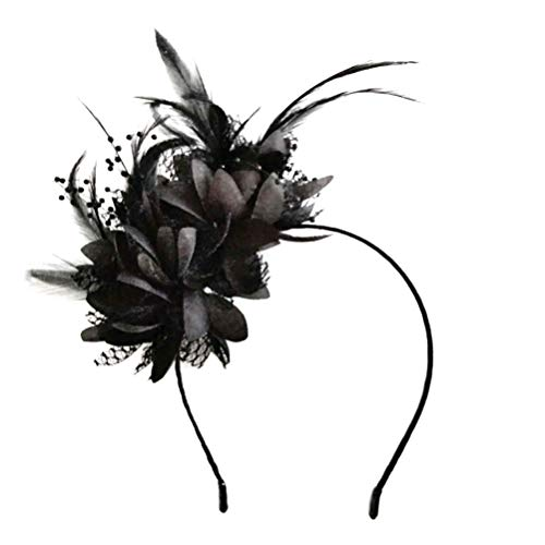 Flower Feather Hat, Flower Mesh Ribbons Headband, Headband Headwear for Cocktail Party Hat Girl Women (Party-girl Hats)