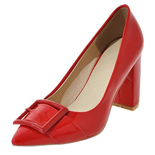 MakefortuneElegante Damen Pumps mit hohem Absatz aus Lackleder und Spitzen Zehen im Büro Schuhsandalen mit Absatz Klassisch Schwarz Weiß Rot Beige - Schwarze Spitzen Zehen-schuhe