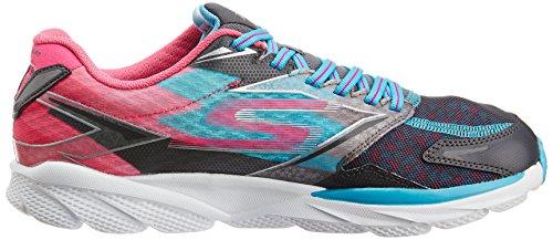 Skechers Go Run Ride 4, Chaussures de running femme Gris (Charcoal/Bleu)