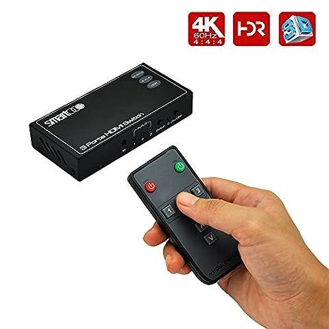 SMARTOOO 23031 4K@60Hz HDMI 2.0b HDR Commutateur hdmi HDMI Switcher 4:4:4 with remote control and auto switch 3x1 HDMI switch 3 ports HDMI switch