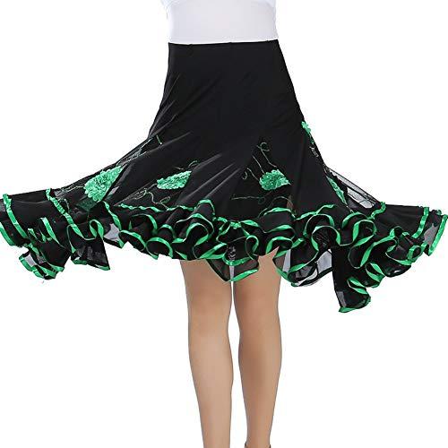 Maritown Frauen Latin Dance Rock, Elegante Damen Floral gemusterten Tanzkleid Latin Salsa Cha cha modernen Ballsaal Tango Walzer Rock Dancewear Pailletten Big Swing Rock (Ballsaal Tanz Kostüme Billig)