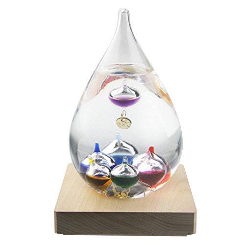 Galileo Thermometer mit Holz und Multicolor Glas Kugeln Fluid Barometer nicht Storm Glas Dekoration Home Office Geburtstag Geschenke, small, Tall 7''X3''