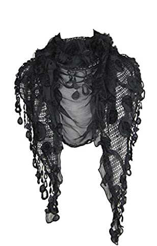 Large triangle scarf shawl wrap - silk blend, rose print and vintage lace tassels (Black)