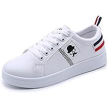 ZODOF Zapatos de Mujer de Moda Zapatillas de Deporte de Barba de Barba Planas Zapatos Blancos