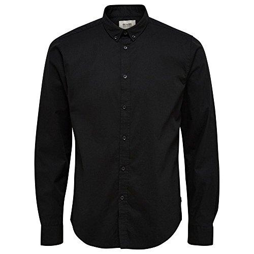 ONLY & SONS Herren onsALBIOL LS Shirt NOOS Businesshemd, Schwarz (Black), Medium - Ls Baumwoll-twill Hemd