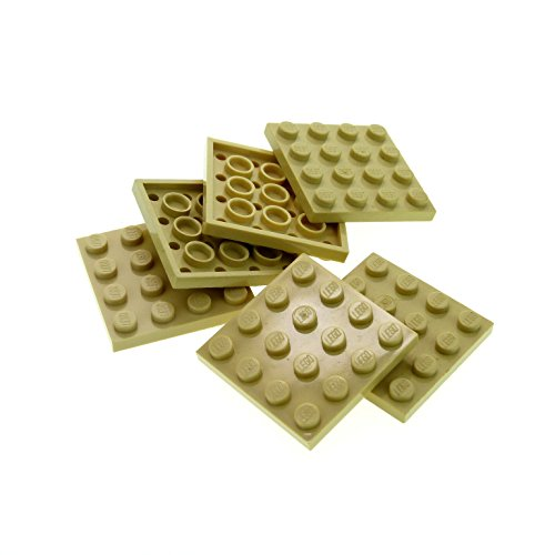 6 x Lego System Bau Platte beige tan 4 x 4 Quadrat für Set Star Wars 6210 10221 75084 79003 41110 21005 3031