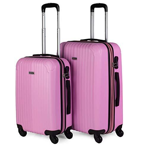 ITACA - Juego Maletas de Viaje 4 Ruedas Trolley. ABS. Duras Rígidas Resistentes y Ligeras Diseño. 2 Tamaños: Pequeña Cabina y Mediana Extensible. T71515, Color Rosa
