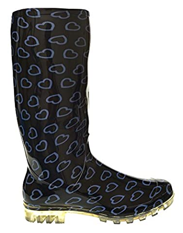 P375 BLACK WITH BLUE HEARTS FUNKY WOMENS LADIES GIRLS WELLIES WELLIE BOOTS RAIN SNOW SIZES 3, 4, 5, 6, 6.5 & 7 (6 UK)
