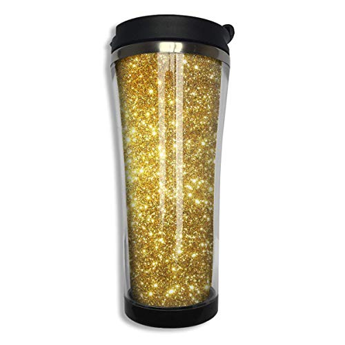 Gold Background Double Wall Stainless Steel Mug Hot Cold Tumbler with Liquid Tight 420 Ml Coffee Mug Vacuum Sealed Tumbler Drink Bottle 14 Oz for Office Travel Home -