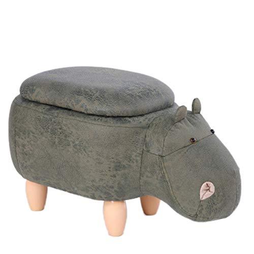 YPSMLYY Tierischer Hocker Gepolsterter Reitblock Stuhlmatten Schlafzimmer Wohnzimmer Büro Schuhhocker Mit Flip Cover (Hippo),Green