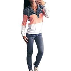 Inlefen Combinaison de Sport pour Femmes 2pc / Ensembles Bra + Leggings Élasticité Fitness Costumes pour Yoga, Course et Autres activités - Gris Rose - M