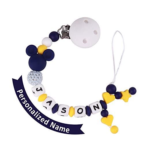 Schnullerkette mit Namen Jungen Maximal 9 Buchstaben Longe Personalisierte Zahnen Silikon Selber (blue and yellow)