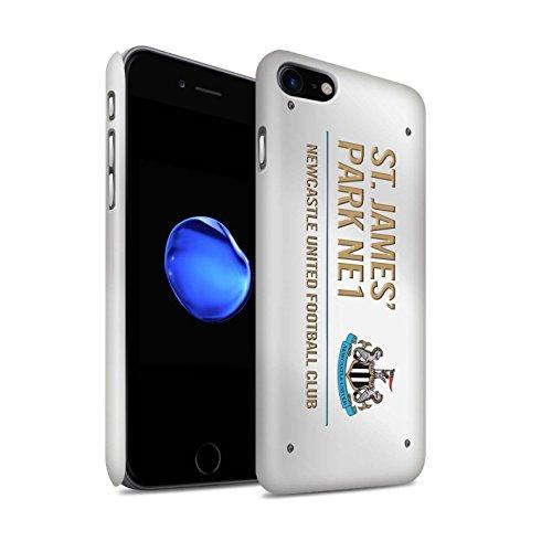 Offiziell Newcastle United FC Hülle / Matte Snap-On Case für Apple iPhone 7 / Schwarz/Blau Muster / St James Park Zeichen Kollektion Weiß/Gold