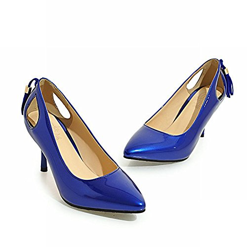 Mee Shoes Damen Stiletto Quaste Geschlossen Pumps Blau