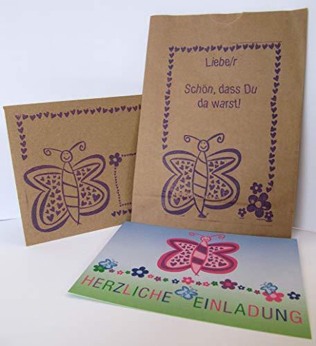 10 Einladungskarten zum Kindergeburtstag mit Umschlägen und Kraftpapiertüten, Schmetterling + zusätzliche Downloads unter www.tinarock.de, Mädchen, Tüten, Kinder, Feier, Karten, Geburtstag