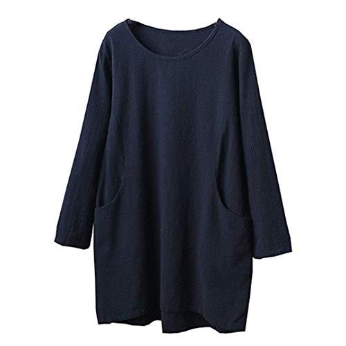 (Damen Kurzarm Beiläufige Lose Tops Dünnschnitt Bluse T-Shirt Pullover Baumwolle Leinen 4/5 Ärmel Tunika Top Bluse LianMengMVP)