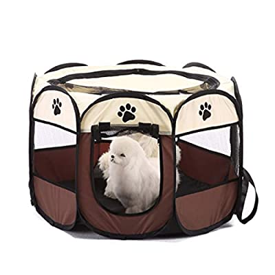 QYJpB Pet Dog Cat Playpen Cage Crate - Portable Folding Exercise Kennel -Octagonal Tent Pet House- Indoor & Outdoor Use by QYJpB