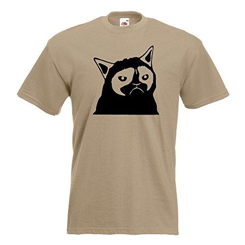 KIWISTAR - Grumpy Cat - Meme - No T-Shirt in 15 verschiedenen Farben - Herren Funshirt bedruckt Design Sprüche Spruch Motive Oberteil Baumwolle Print Größe S M L XL XXL Khaki