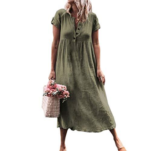 Juleya Frauen Leinenkleider V-Ausschnitt Maxikleid Lose Baggy Kaftan Stretchy Kurzarm Strand Sommer Boho Tunika Bluse Kleider