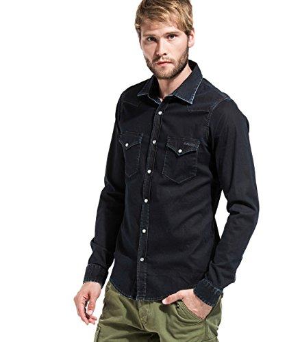 Roy Roger's DUDLEY FALCON DE LUXE camicia uomo jeans denim nero elasticizzato Nero