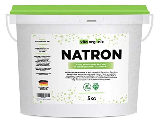 Preisvergleich Produktbild Natron Pulver Backing Soda 5kg I Deutsche Herstellung u. Abfüllung I Hochreine Lebensmittelqualität I Recyclefähiger,  wiederverschließbarer Eimer