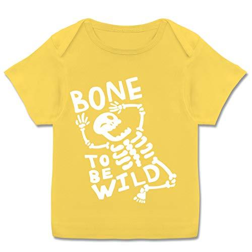 Anlässe Baby - Bone to me Wild Halloween Kostüm - 56-62 (2-3 Monate) - Gelb - E110B - Kurzarm Baby-Shirt für Jungen und ()