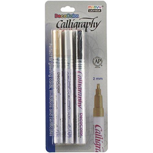 Uchida DecoColor Kalligraphie blickdicht Paint Marker Set, Mehrfarbig, 19,3x 11,68X 1.52cm (Decocolor Paint Marker)