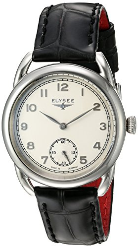 ELYSEE Made in Germany Vintage Lady 80540 36mm Stainless Steel Case Black Calfskin Synthetic Sapphire Women's Watch