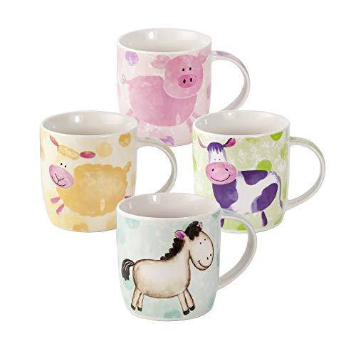 Juego de 4 Tazas Desayuno Originales de Porcelana Fina, Tazas de Café, Diseños de Cerdo, Oveja, Vaca y Caballo, Regalo para Amantes de los Animales