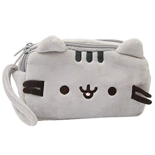 (GOUPPER Storage Bag, Cat Pencil Case Cute Plush Pen Bag Makeup Pouch Cosmetic Bag Kid Stationery Gift)
