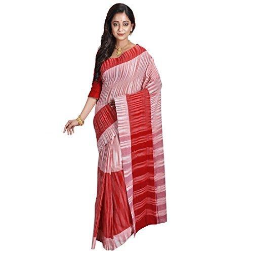 Avik Creations Women's Kanjivaram Handloom Pochempalli Ikkat Khadi Cotton Daily Wear Saree Red White