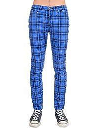 Mens Indie Vintage Retro 60s 80s Mod Punk Royal Blue Tartan Skinny Jeans