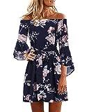 YOINS Donna Vestito Senza Spalle a Maniche Lunghe con Spalline Elegante Abito da Spiaggia Corto Abiti Motivo Estivo Floreale Sexy Blu XL