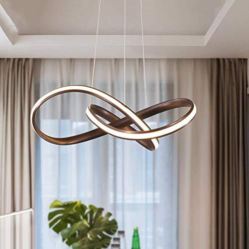 HangRay Acryl Spirale Kronleuchter, Dimmbare LED Aluminium Lampe Körper Deckenleuchte, Ring Metall Pendelleuchte, Ideal für Esszimmer Wohnzimmer Schlafzimmer Studie,Brown(Warm),50cm